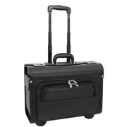 Wheeled Pilot Case Black Faux Leather Briefcase Business Rep Cabin Bag Dallas