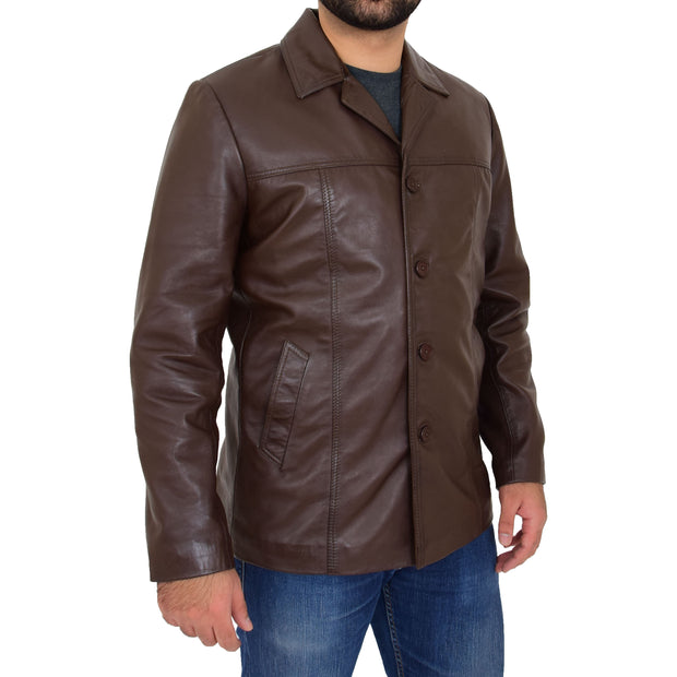 Mens Casual Leather Jacket Hip Length Brown Reefer Blazer Coat Harold