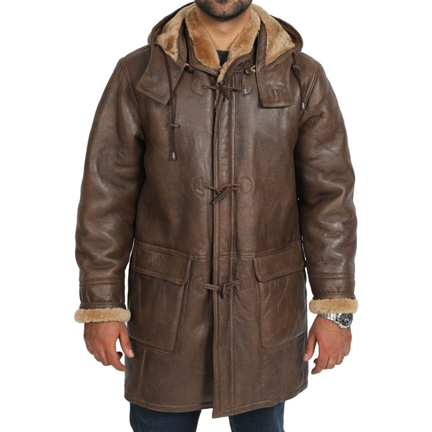 Mens Genuine Sheepskin Duffle Coat 3/4 Long Hooded Jacket Mitchel Brown