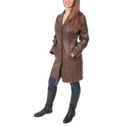 Womens 3/4 Button Fasten Leather Coat Cynthia Brown Full 1
