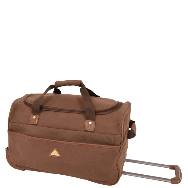 "Wheeled Holdall 21"" Medium Camel Faux Leather Travel Duffle Bag Norge Front Angle"