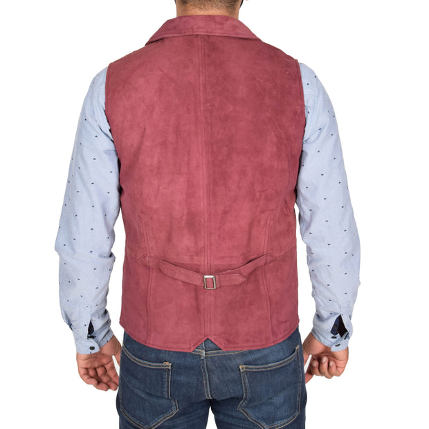 Mens Real Suede Leather Waistcoat Classic Vest Yelek Status Burgundy Back