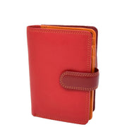 Womens Leather Booklet Evening Clutch Purse Multi Colour Wallet AVB51 Red