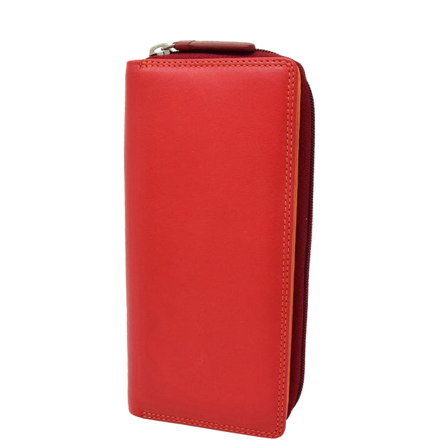 Womens Soft Leather Envelope Clutch Purse Zip Around Wallet AVB55 Red