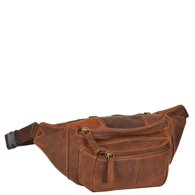 Real Leather Bum Bag Money Mobile Belt Waist Pack Travel Pouch A072 Dark Tan Front