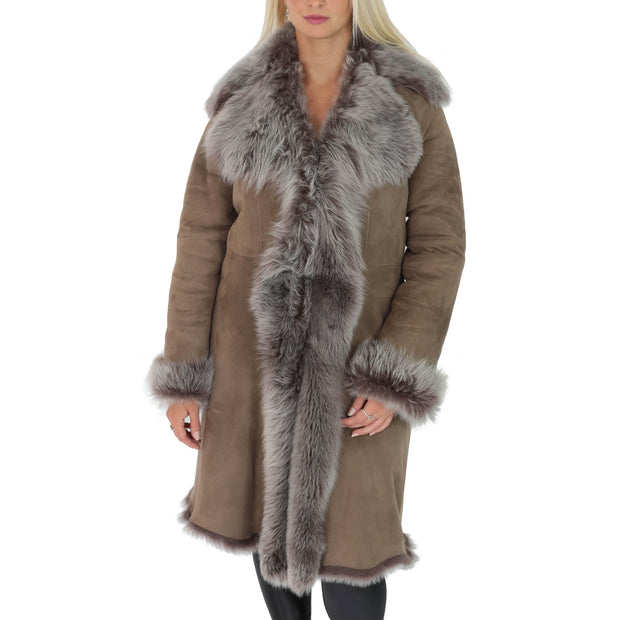 Womens Luxurious Toscana Long Coat Real Sheepskin Pamela Taupe
