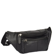 Real Leather Bum Bag Money Mobile Belt Waist Pack Travel Pouch A072 Black Front