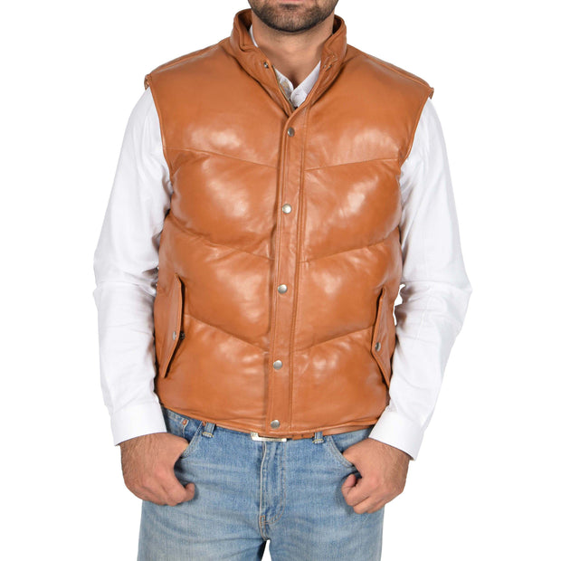 Mens Quilted Leather Waistcoat Body Warmer Gilet Jeff Tan Front