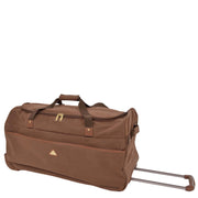 "Wheeled Holdall 30"" Large Camel Faux Leather Travel Duffle Bag Swoose Front Angle"