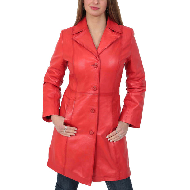 Womens 3/4 Button Fasten Leather Coat Cynthia Red