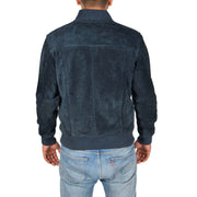 Mens Genuine Suede Bomber Jacket Roco Blue Back