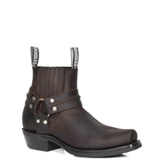 Real Leather Square Toe Cowboy Ankle Boots AR70 Brown
