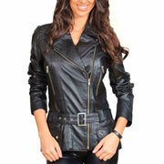 Womens Fitted Mid Length Biker Leather Jacket Hannah Black