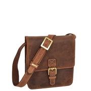 Cross Body Leather Bag Vintage TAN Small Travel Sling Flight Handbag Billy