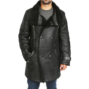 Mens Genuine Sheepskin 3/4 Long Reefer Trench Coat Bruno Black