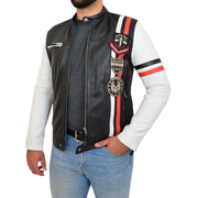 Mens Biker Leather Jacket Black White Sleeves Badges Stripes Sports Style Gears Front Side Open