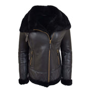 Super Luxurious Womens Real Sheepskin Jacket Aviator Coat Alexa Black