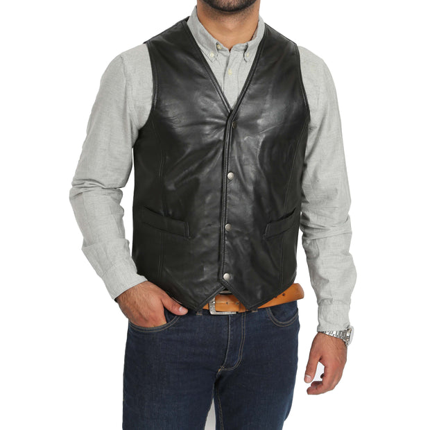 Mens Soft Leather Waistcoat Classic Gilet Bruno Black front view