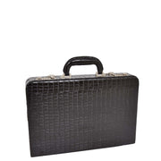Black Leather Look Attache Croc Print Small Briefcase Dual Lock Lyon Front Angle