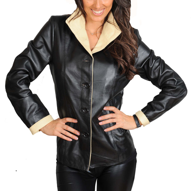 Womens Soft Leather Blazer Hip Length Beige Trim Jacket Maggie Black