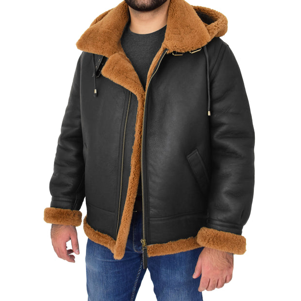 Mens Real Sheepskin Flying Jacket Hooded Brown Ginger Shearling Coat Hawker Open With Hood