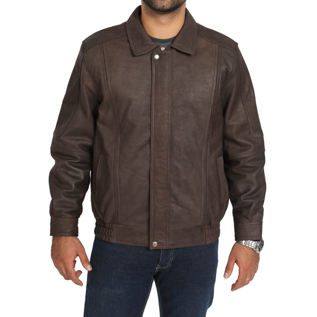 Gents Blouson Brown Leather Jacket Keith Nubuck main view