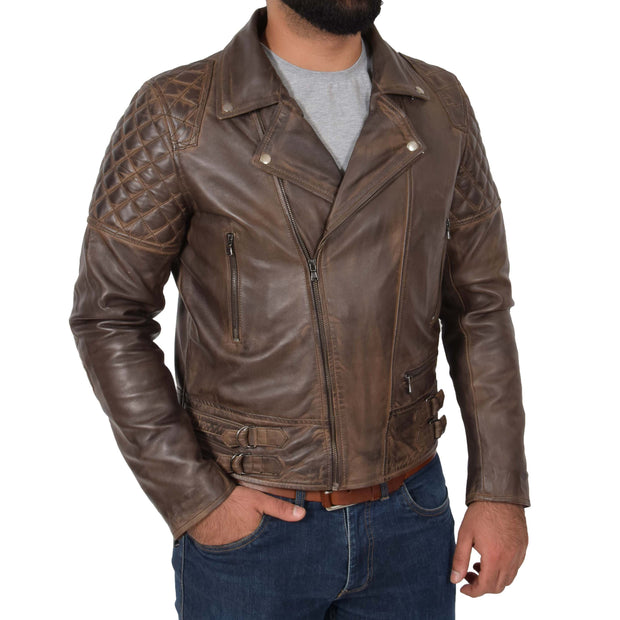 Mens Trendy Biker Leather Jacket Antique Quilted Designer Coat Jace Brown