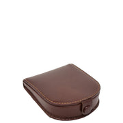 Real Leather Classic Coin Tray Wallet Small Pouch Loose Change Purse AVT5 Brown