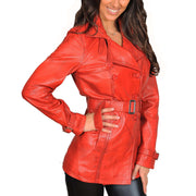 Womens Soft Leather Trench Coat Olivia Red