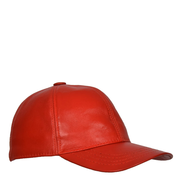 Genuine Leather Baseball Cap Sports Casual Viper Red