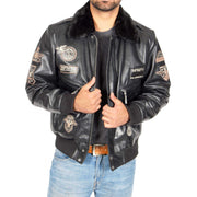 Mens Pilot Leather Jacket Air Force Badges Bomber Coat Luca Black