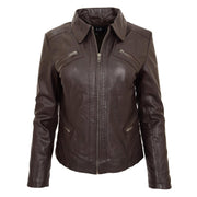 Ladies Soft Leather Jacket Fitted Collared Zip Fasten Biker Style Leah Brown