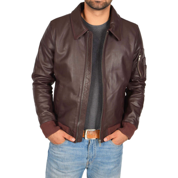 Mens Real Cowhide Bomber Leather Pilot Jacket Lance Burgundy Open