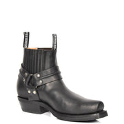 Real Leather Square Toe Cowboy Ankle Boots AR70 Black