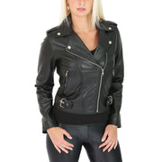 Womens Biker Leather Jacket Stylish Short Slim Fit Girls Coat Moira Black