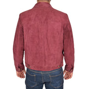 Mens Real Soft Goat Suede Trucker Denim Style Jacket Chuck Burgundy Back