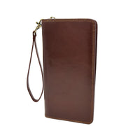 Real Italian Leather Travel Passport Wallet Boarding Pass Clutch Purse AVM10 Brown