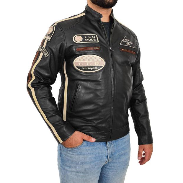 Mens BLACK Leather Biker Jacket Slim Fit Motor Sports Badges Coat Wayne