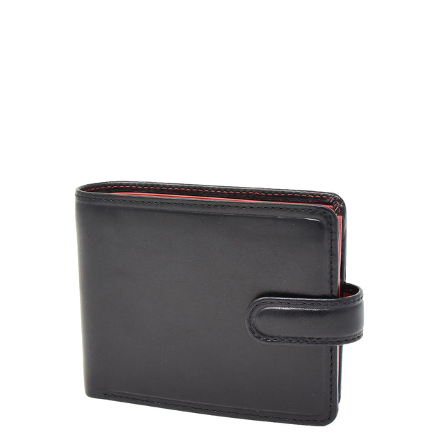 Mens High Quality Real Italian Leather Wallet Purse AVT53 Black Front