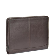 Zip Around Folio Leather Folder A4 Binder Organiser Underarm Bag A1 Brown Front Angle