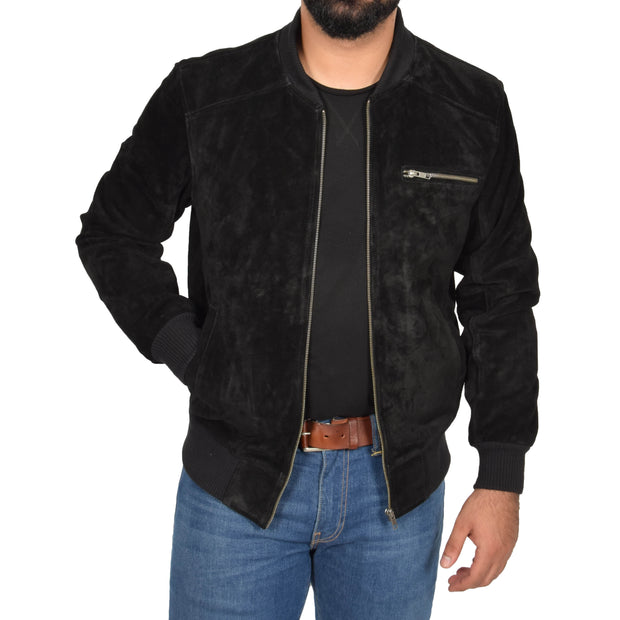 Mens Genuine Suede Bomber Jacket Roco Black zip open view