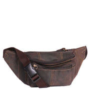 Real Leather Bum Bag Money Mobile Belt Waist Pack Travel Pouch A072 Dark Brown With Belt