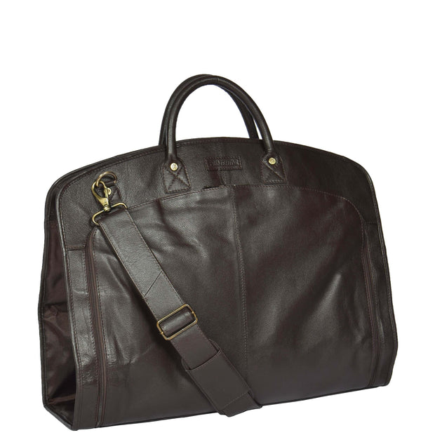 Genuine Soft Leather Suit Carrier Dress Garment Bag A173 Brown