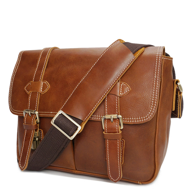 Real Leather Cross Body Shoulder Bag Multi Use Camera Organiser Bussell Tan Front
