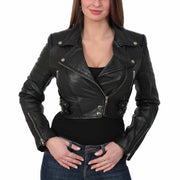 Womens Fitted Cropped Bustier Style Leather Jacket Amanda Black
