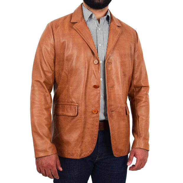 Mens Leather Blazer Real Lambskin Jacket Dinner Suit Style Coat Dean Cognac Front 4