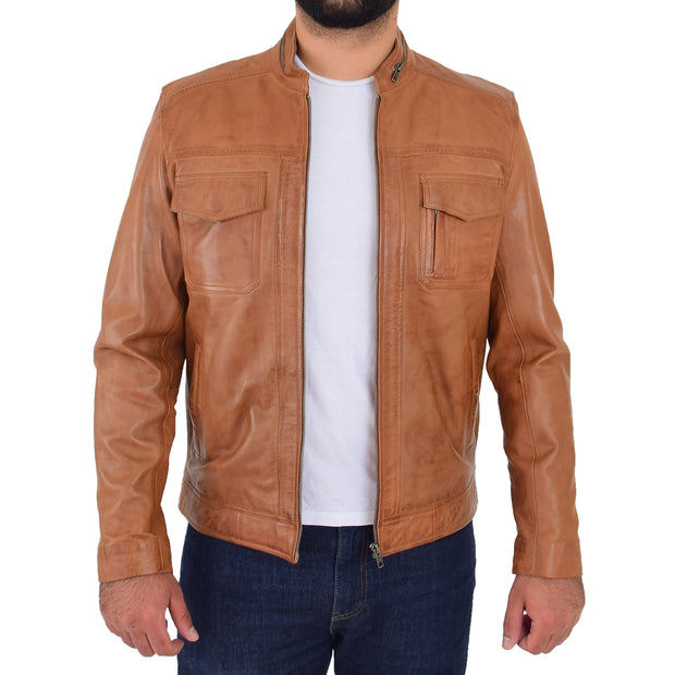 Mens Biker Leather Jacket Cognac Soft Nappa Fitted Standing Collar Tats Open 1