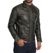 Gents Washed Biker Leather Jacket Django Rub Off