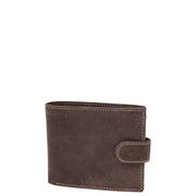 Mens Real Leather Bifold Clip Closure Wallet AV86 Brown Front