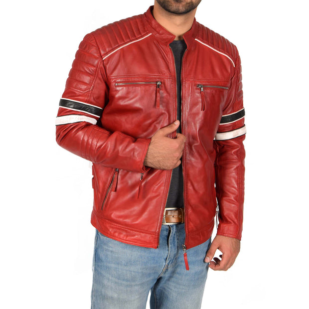 Mens Biker Leather Jacket Stripes Standing Collar Coat Ricky Red
